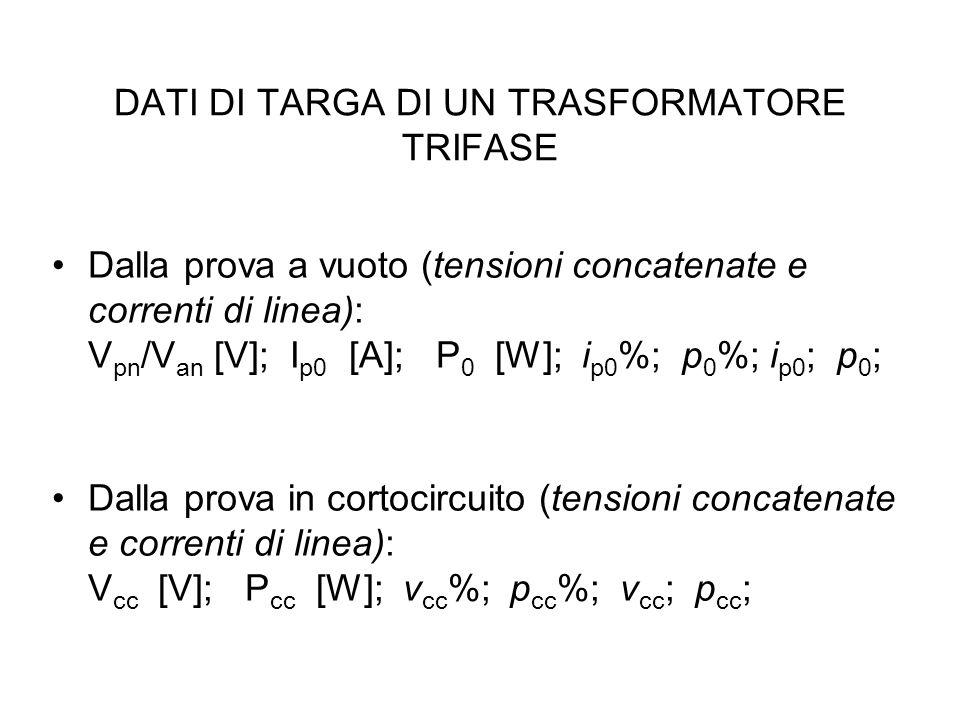 DATI DI TARGA DI UN TRASFORMATORE TRIFASE Dalla prova a vuoto (tensioni concatenate e correnti di linea): V pn /V an [V]; I p0 [A]; P 0 [W]; i p0 %; p 0 %; i p0 ; p 0 ; Dalla prova in cortocircuito (tensioni concatenate e correnti di linea): V cc [V]; P cc [W]; v cc %; p cc %; v cc ; p cc ;