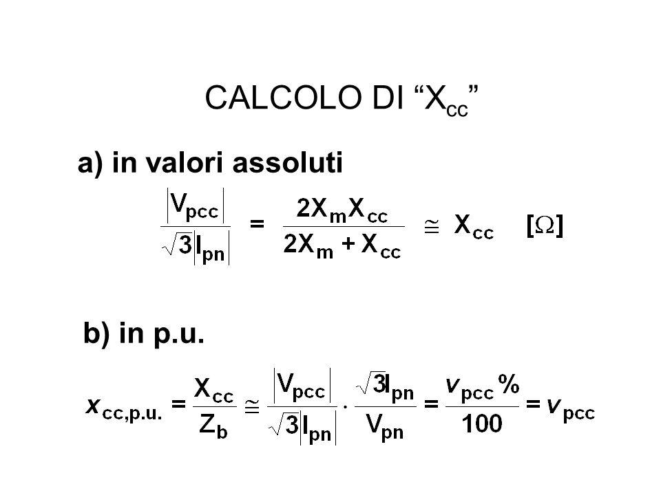 CALCOLO DI X cc a) in valori assoluti b) in p.u.