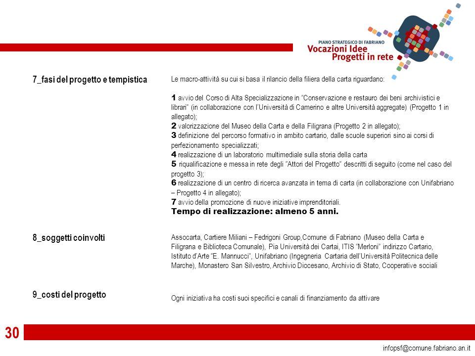 30 infopsf@comune.fabriano.an.it 7_fasi del progetto e tempistica 8_soggetti coinvolti 9_costi del progetto Le macro-attività su cui si basa il rilancio della filiera della carta riguardano: 1 avvio del Corso di Alta Specializzazione in Conservazione e restauro dei beni archivistici e librari (in collaborazione con l'Università di Camerino e altre Università aggregate) (Progetto 1 in allegato); 2 valorizzazione del Museo della Carta e della Filigrana (Progetto 2 in allegato); 3 definizione del percorso formativo in ambito cartario, dalle scuole superiori sino ai corsi di perfezionamento specializzati; 4 realizzazione di un laboratorio multimediale sulla storia della carta 5 riqualificazione e messa in rete degli Attori del Progetto descritti di seguito (come nel caso del progetto 3); 6 realizzazione di un centro di ricerca avanzata in tema di carta (in collaborazione con Unifabriano – Progetto 4 in allegato); 7 avvio della promozione di nuove iniziative imprenditoriali.