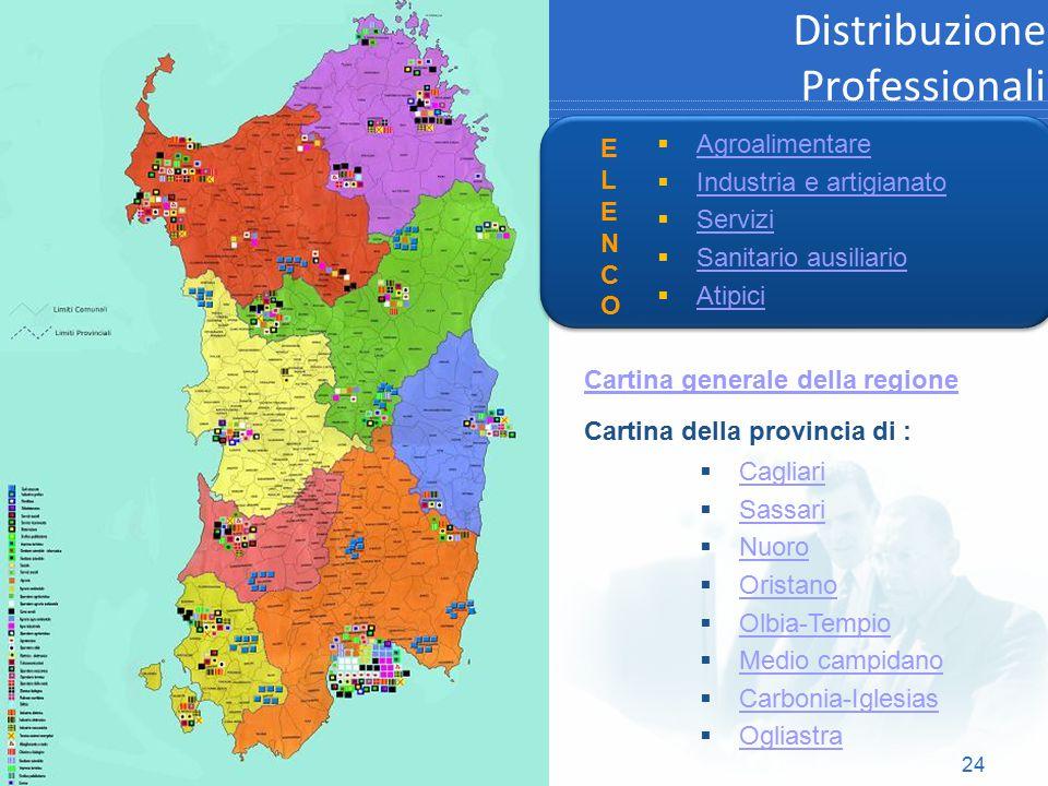 24 Distribuzione Professionali  Agroalimentare Agroalimentare  Industria e artigianato Industria e artigianato  Servizi Servizi  Sanitario ausilia