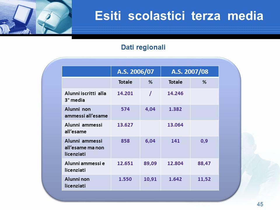 45 Esiti scolastici terza media A.S. 2006/07A.S. 2007/08 Totale% % Alunni iscritti alla 3° media 14.201/14.246 Alunni non ammessi all'esame 5744,041.3