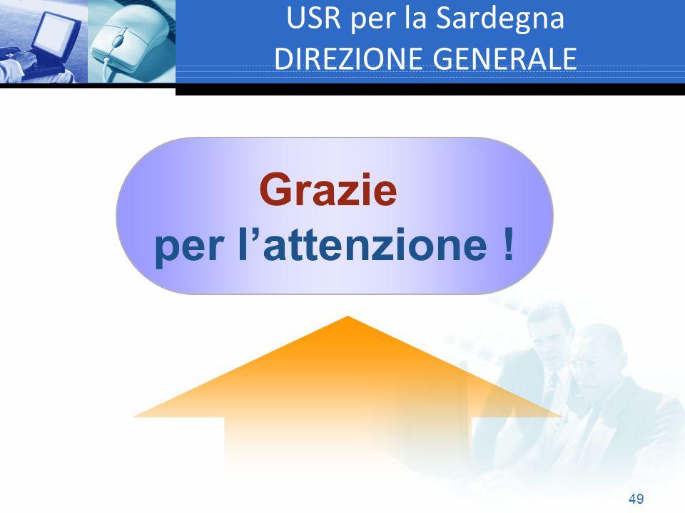 49 USR per la Sardegna DIREZIONE GENERALE Grazie per l'attenzione !