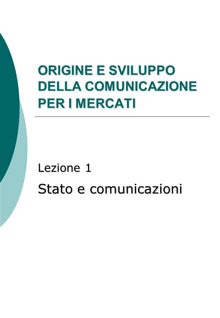 ORIGINE E SVILUPPO DELLA COMUNICAZIONE PER I MERCATI Lezione 1 Stato e comunicazioni