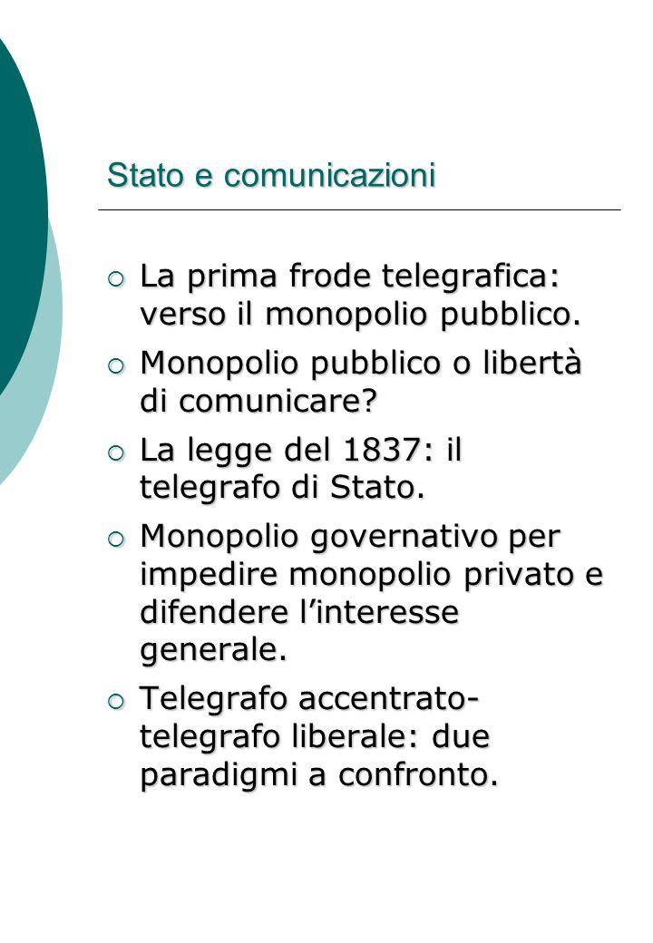 Stato e comunicazioni  La prima frode telegrafica: verso il monopolio pubblico.