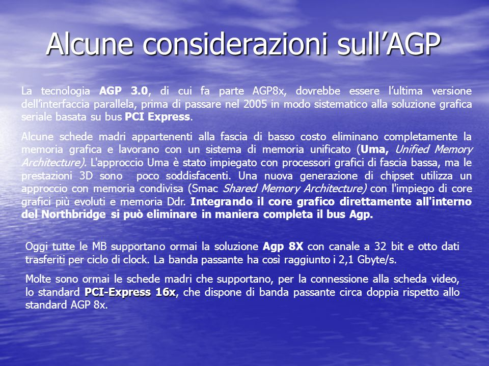 Alcune considerazioni sull'AGP La tecnologia AGP 3.0, di cui fa parte AGP8x, dovrebbe essere l'ultima versione dell'interfaccia parallela, prima di pa