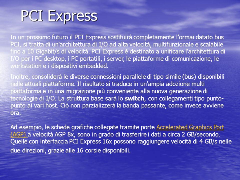 PCI Express In un prossimo futuro il PCI Express sostituirà completamente l'ormai datato bus PCI, si tratta di un'architettura di I/O ad alta velocità