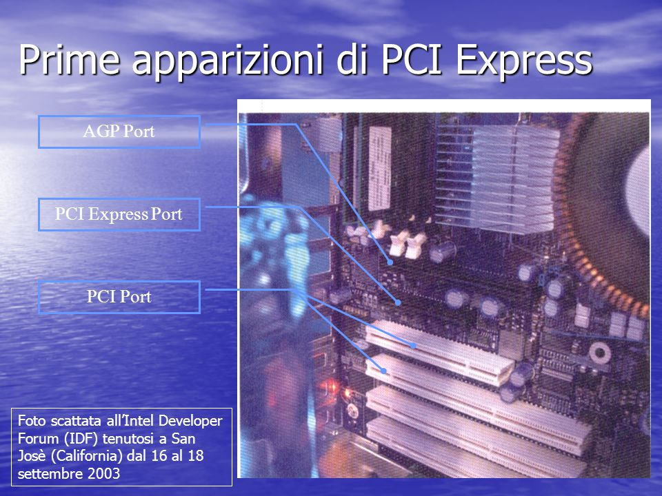 Prime apparizioni di PCI Express AGP Port PCI Express Port PCI Port Foto scattata all'Intel Developer Forum (IDF) tenutosi a San Josè (California) dal