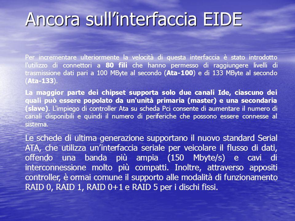 Ancora sull'interfaccia EIDE Per incrementare ulteriormente la velocità di questa interfaccia è stato introdotto l'utilizzo di connettori a 80 fili ch