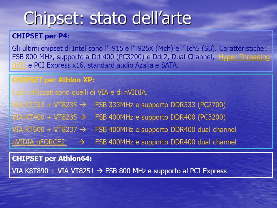 Chipset: stato dell'arte CHIPSET per P4: Gli ultimi chipset di Intel sono l' i915 e l' i925X (Mch) e l' Ich5 (SB). Caratteristiche: FSB 800 MHz, suppo