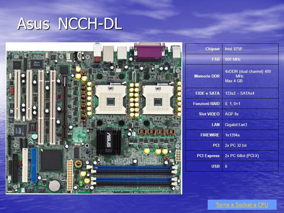Asus NCCH-DL Torna a Socket e CPU ChipsetIntel 875P FSB800 MHz Memorie DDR 4xDDR (dual channel) 400 MHz Max 4 GB EIDE e SATA133x2 – SATAx4 Funzioni RA