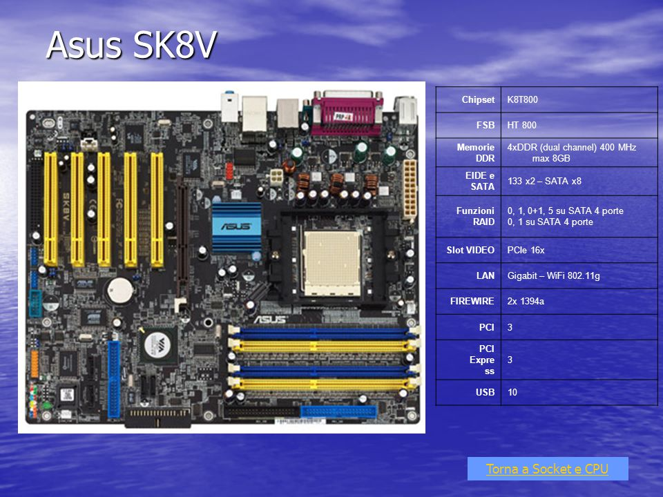Asus SK8V Torna a Socket e CPU ChipsetK8T800 FSBHT 800 Memorie DDR 4xDDR (dual channel) 400 MHz max 8GB EIDE e SATA 133 x2 – SATA x8 Funzioni RAID 0,