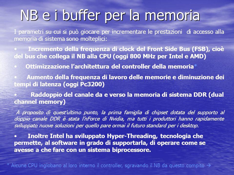 NB e i buffer per la memoria I parametri su cui si può giocare per incrementare le prestazioni di accesso alla memoria di sistema sono molteplici:  I