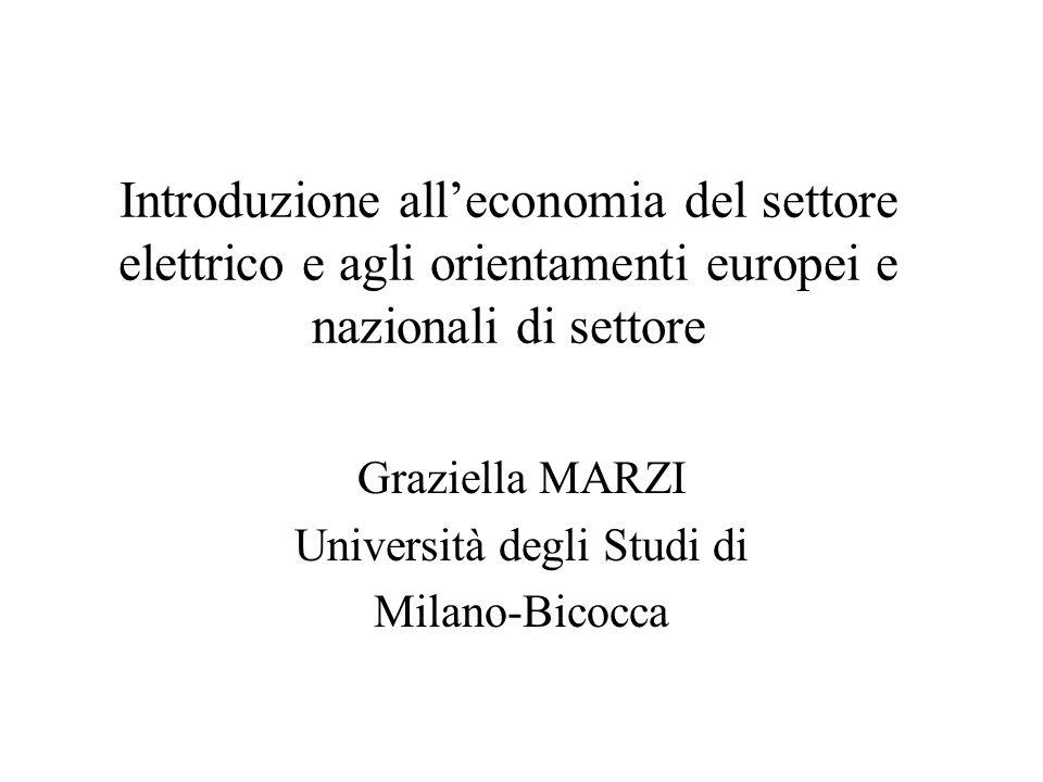 Introduzione all'economia del settore elettrico e agli orientamenti europei e nazionali di settore Graziella MARZI Università degli Studi di Milano-Bi