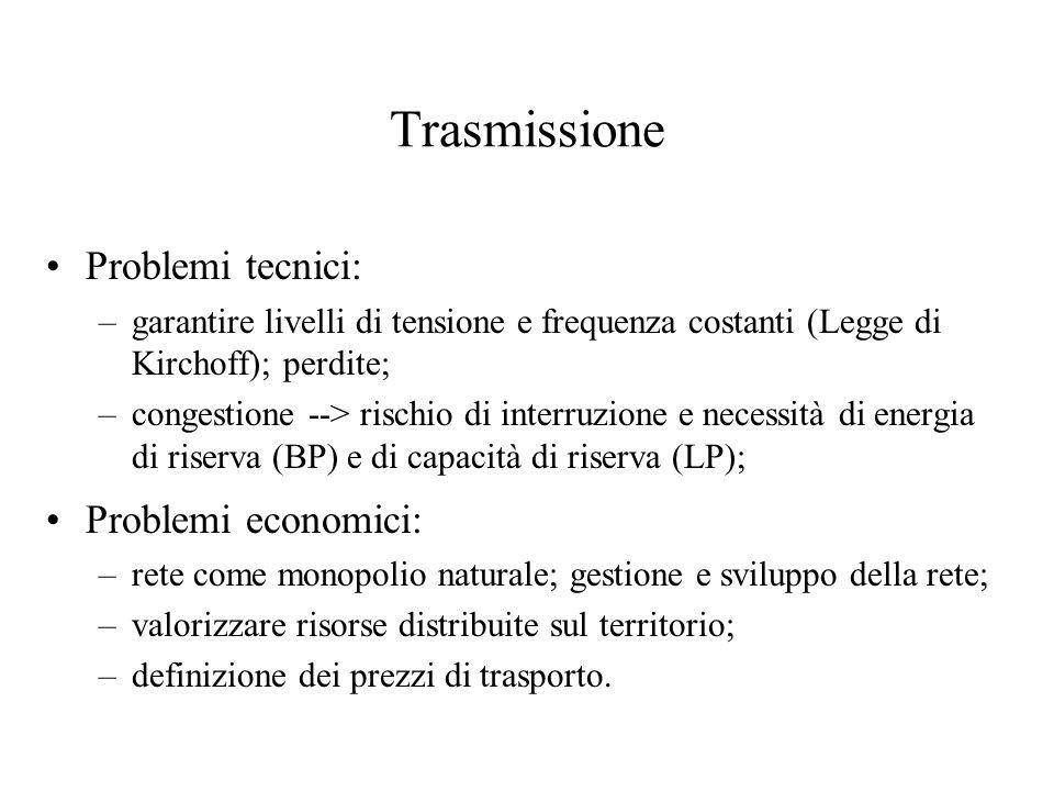 Distribuzione Trasformazione della tensione in media e bassa; Rete con caratteristiche di monopolio naturale: –economie di densità; –caratteristiche del territorio;