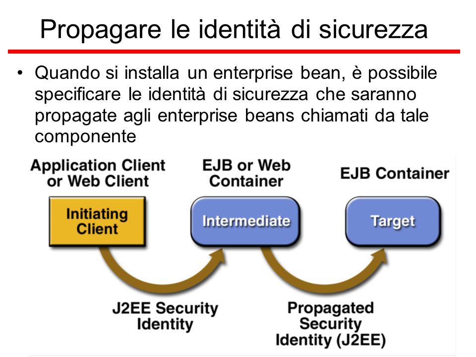 Propagare le identità di sicurezza Quando si installa un enterprise bean, è possibile specificare le identità di sicurezza che saranno propagate agli enterprise beans chiamati da tale componente