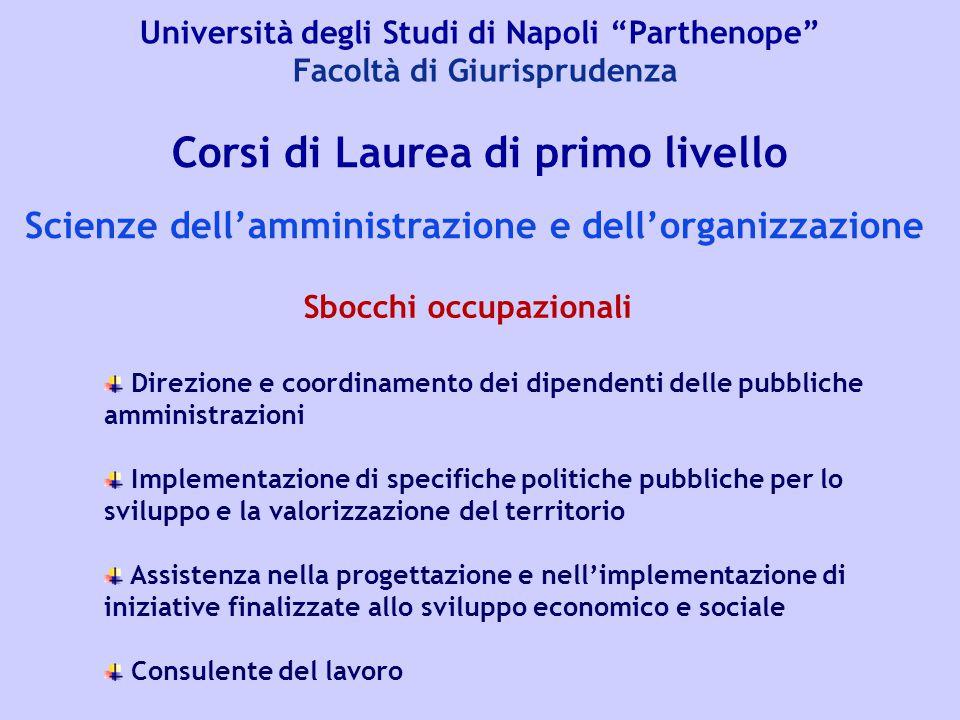 """Università degli Studi di Napoli """"Parthenope"""" Facoltà di Giurisprudenza Corsi di Laurea di primo livello Scienze dell'amministrazione e dell'organizza"""