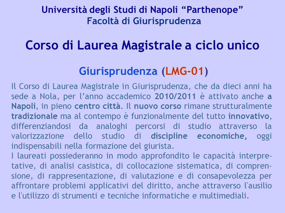 """Università degli Studi di Napoli """"Parthenope"""" Facoltà di Giurisprudenza Giurisprudenza (LMG-01) Corso di Laurea Magistrale a ciclo unico Il Corso di L"""
