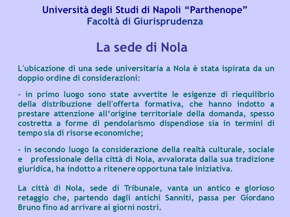 """Università degli Studi di Napoli """"Parthenope"""" Facoltà di Giurisprudenza L'ubicazione di una sede universitaria a Nola è stata ispirata da un doppio or"""