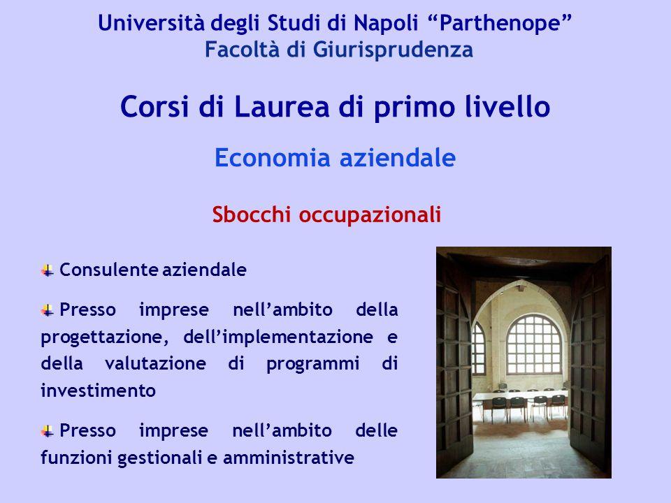 """Università degli Studi di Napoli """"Parthenope"""" Facoltà di Giurisprudenza Corsi di Laurea di primo livello Economia aziendale Consulente aziendale Press"""