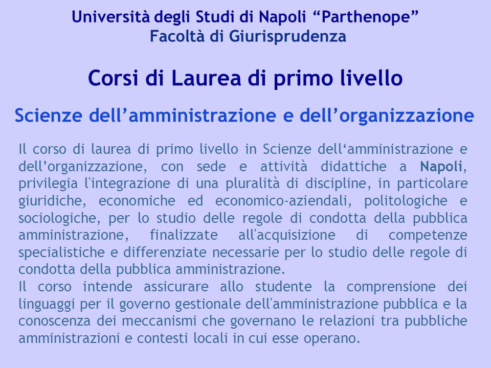 """Università degli Studi di Napoli """"Parthenope"""" Facoltà di Giurisprudenza Corsi di Laurea di primo livello Il corso di laurea di primo livello in Scienz"""