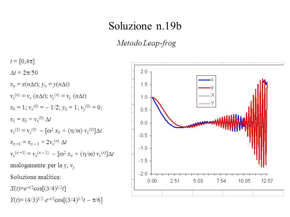 Soluzione n.19b Metodo Leap-frog t = [0,4  ]  t = 2  /50 x n = x(n  t); y n = y(n  t) v x (n) = v x (n  t); v y (n) = v y (n  t) x 0 = 1; v x (0) =  1/2; y 0 = 1; v y (0) = 0; x 1 = x 0 + v x (0)  t v x (1) = v x (0)  [  2 x 0 + (  /m) v x (0) ]  t x n +1 = x n  1 + 2v x (n)  t v x (n +1) = v x (n  1)  [  2 x n + (  /m) v x (n) ]  t analogamente per la y, v y Soluzione analitica: X(t)=e  t/2 cos[(3/4) 1/2 t] Y(t)= (4/3) 1/2 e  t/2 cos[(3/4) 1/2 t   /6]