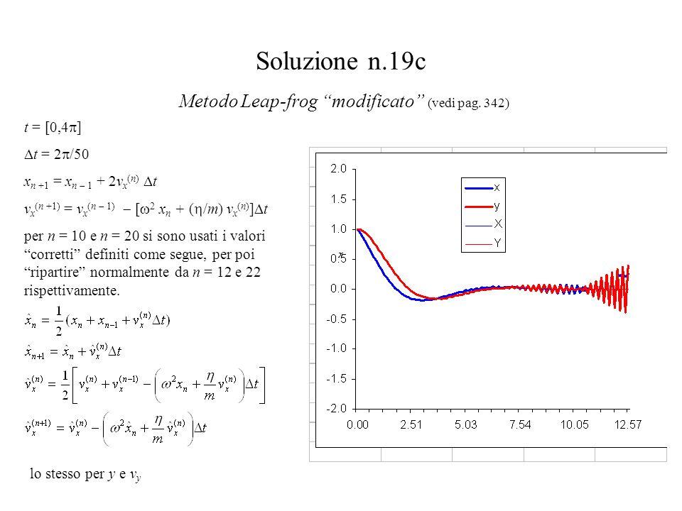 """Soluzione n.19c Metodo Leap-frog """"modificato"""" (vedi pag. 342) t = [0,4  ]  t = 2  /50 x n +1 = x n  1 + 2v x (n)  t v x (n +1) = v x (n  1)  ["""