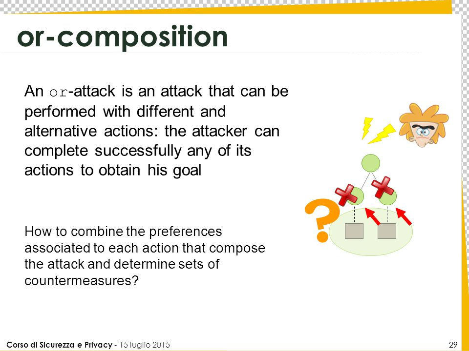 Corso di Sicurezza e Privacy - 15 luglio 2015 29 or-composition ? An or -attack is an attack that can be performed with different and alternative acti