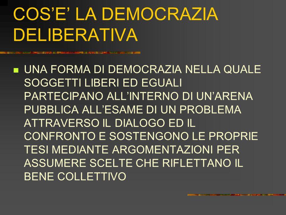 COS'E' LA DEMOCRAZIA DELIBERATIVA UNA FORMA DI DEMOCRAZIA NELLA QUALE SOGGETTI LIBERI ED EGUALI PARTECIPANO ALL'INTERNO DI UN'ARENA PUBBLICA ALL'ESAME DI UN PROBLEMA ATTRAVERSO IL DIALOGO ED IL CONFRONTO E SOSTENGONO LE PROPRIE TESI MEDIANTE ARGOMENTAZIONI PER ASSUMERE SCELTE CHE RIFLETTANO IL BENE COLLETTIVO
