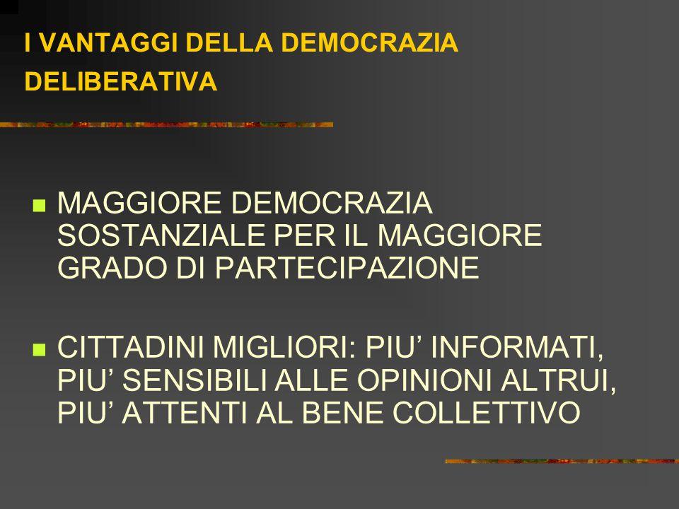 I VANTAGGI DELLA DEMOCRAZIA DELIBERATIVA MAGGIORE DEMOCRAZIA SOSTANZIALE PER IL MAGGIORE GRADO DI PARTECIPAZIONE CITTADINI MIGLIORI: PIU' INFORMATI, PIU' SENSIBILI ALLE OPINIONI ALTRUI, PIU' ATTENTI AL BENE COLLETTIVO