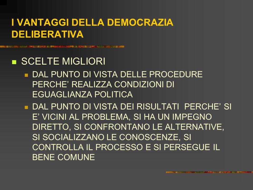 I VANTAGGI DELLA DEMOCRAZIA DELIBERATIVA SCELTE MIGLIORI DAL PUNTO DI VISTA DELLE PROCEDURE PERCHE' REALIZZA CONDIZIONI DI EGUAGLIANZA POLITICA DAL PUNTO DI VISTA DEI RISULTATI PERCHE' SI E' VICINI AL PROBLEMA, SI HA UN IMPEGNO DIRETTO, SI CONFRONTANO LE ALTERNATIVE, SI SOCIALIZZANO LE CONOSCENZE, SI CONTROLLA IL PROCESSO E SI PERSEGUE IL BENE COMUNE