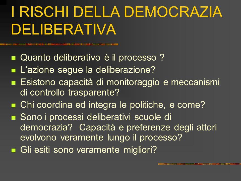 I RISCHI DELLA DEMOCRAZIA DELIBERATIVA Quanto deliberativo è il processo .
