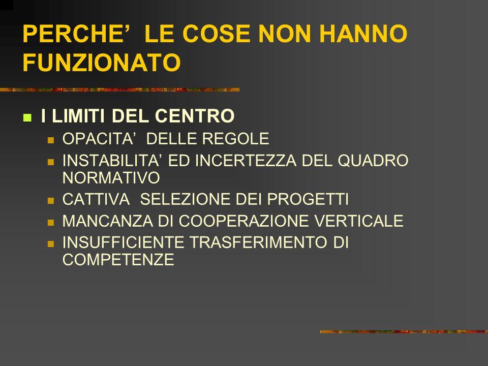 PERCHE' LE COSE NON HANNO FUNZIONATO I LIMITI DEL CENTRO OPACITA' DELLE REGOLE INSTABILITA' ED INCERTEZZA DEL QUADRO NORMATIVO CATTIVA SELEZIONE DEI PROGETTI MANCANZA DI COOPERAZIONE VERTICALE INSUFFICIENTE TRASFERIMENTO DI COMPETENZE