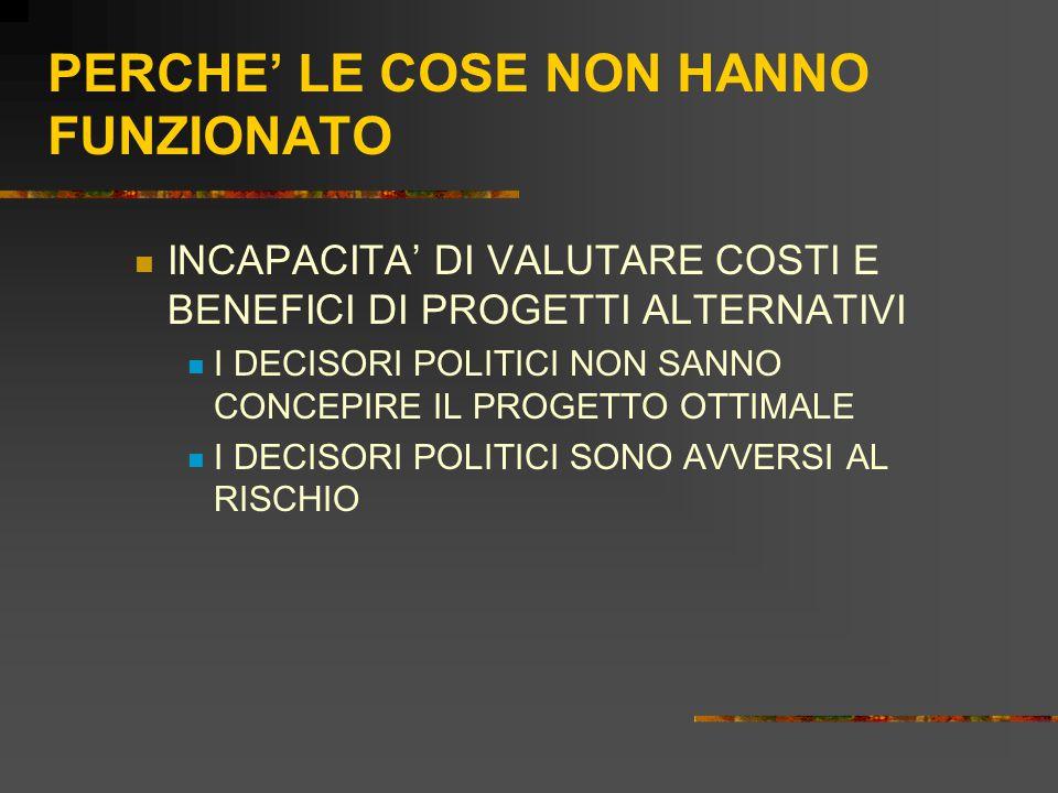 PERCHE' LE COSE NON HANNO FUNZIONATO INCAPACITA' DI VALUTARE COSTI E BENEFICI DI PROGETTI ALTERNATIVI I DECISORI POLITICI NON SANNO CONCEPIRE IL PROGETTO OTTIMALE I DECISORI POLITICI SONO AVVERSI AL RISCHIO