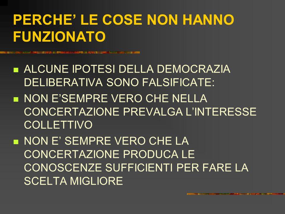 PERCHE' LE COSE NON HANNO FUNZIONATO ALCUNE IPOTESI DELLA DEMOCRAZIA DELIBERATIVA SONO FALSIFICATE: NON E'SEMPRE VERO CHE NELLA CONCERTAZIONE PREVALGA L'INTERESSE COLLETTIVO NON E' SEMPRE VERO CHE LA CONCERTAZIONE PRODUCA LE CONOSCENZE SUFFICIENTI PER FARE LA SCELTA MIGLIORE