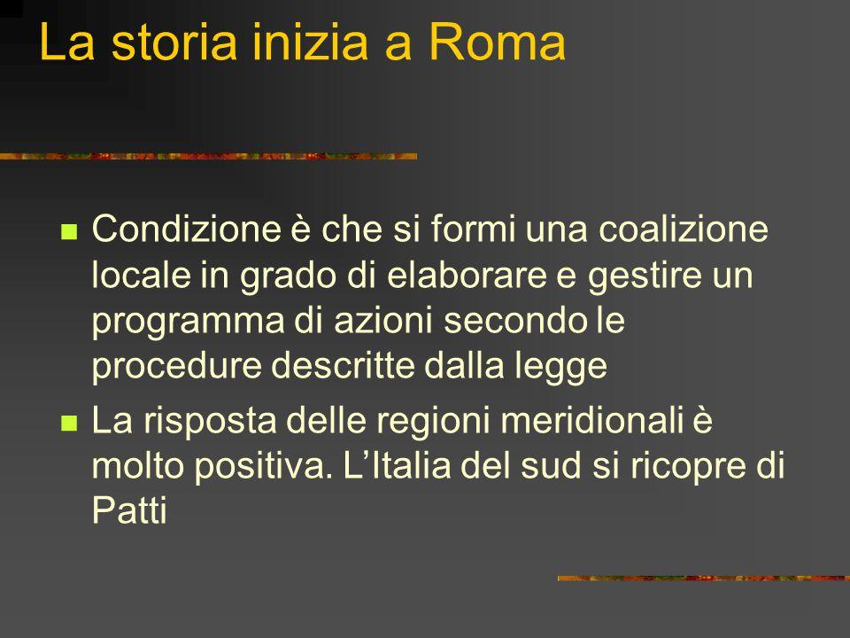La storia inizia a Roma Condizione è che si formi una coalizione locale in grado di elaborare e gestire un programma di azioni secondo le procedure descritte dalla legge La risposta delle regioni meridionali è molto positiva.