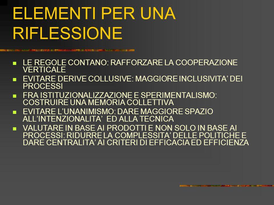 ELEMENTI PER UNA RIFLESSIONE LE REGOLE CONTANO: RAFFORZARE LA COOPERAZIONE VERTICALE EVITARE DERIVE COLLUSIVE: MAGGIORE INCLUSIVITA' DEI PROCESSI FRA ISTITUZIONALIZZAZIONE E SPERIMENTALISMO: COSTRUIRE UNA MEMORIA COLLETTIVA EVITARE L'UNANIMISMO: DARE MAGGIORE SPAZIO ALL'INTENZIONALITA' ED ALLA TECNICA VALUTARE IN BASE AI PRODOTTI E NON SOLO IN BASE AI PROCESSI: RIDURRE LA COMPLESSITA' DELLE POLITICHE E DARE CENTRALITA' AI CRITERI DI EFFICACIA ED EFFICIENZA
