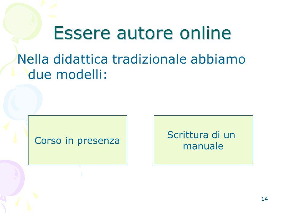 14 Essere autore online Nella didattica tradizionale abbiamo due modelli: Corso in presenza Scrittura di un manuale