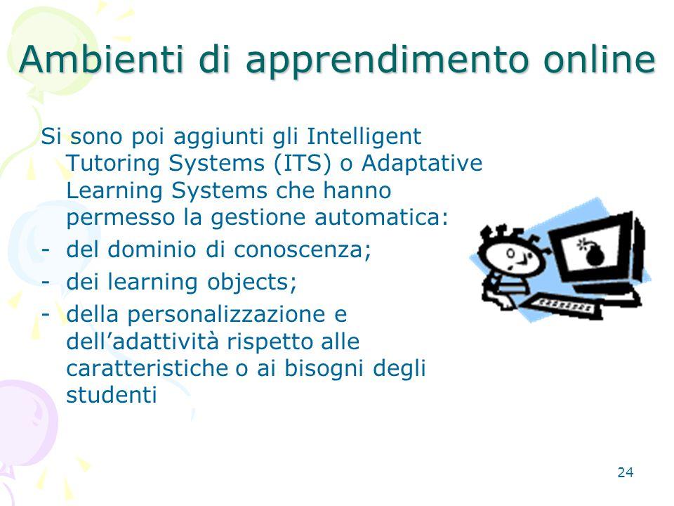 24 Si sono poi aggiunti gli Intelligent Tutoring Systems (ITS) o Adaptative Learning Systems che hanno permesso la gestione automatica: -del dominio di conoscenza; -dei learning objects; -della personalizzazione e dell'adattività rispetto alle caratteristiche o ai bisogni degli studenti Ambienti di apprendimento online
