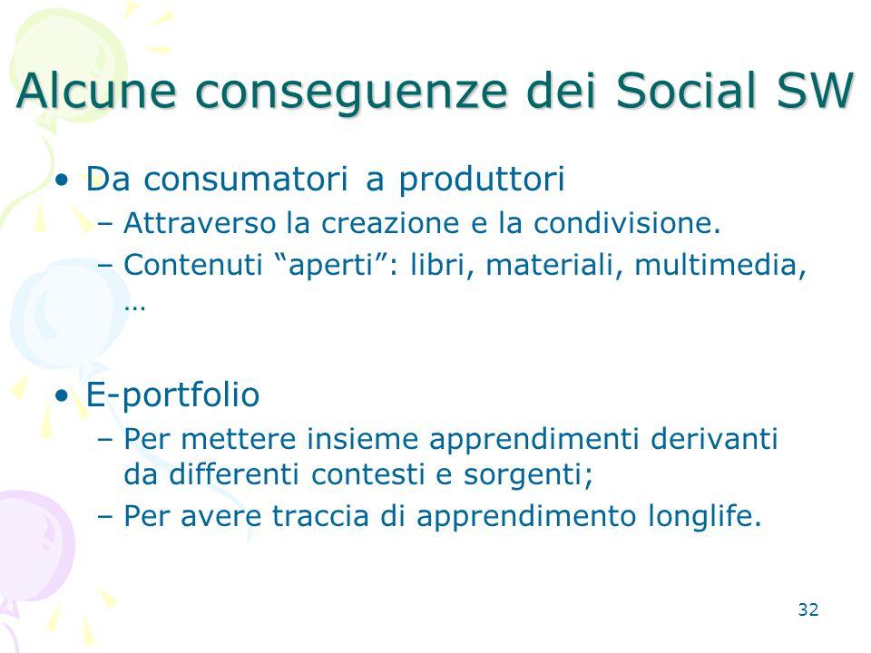 32 Alcune conseguenze dei Social SW Da consumatori a produttori –Attraverso la creazione e la condivisione.
