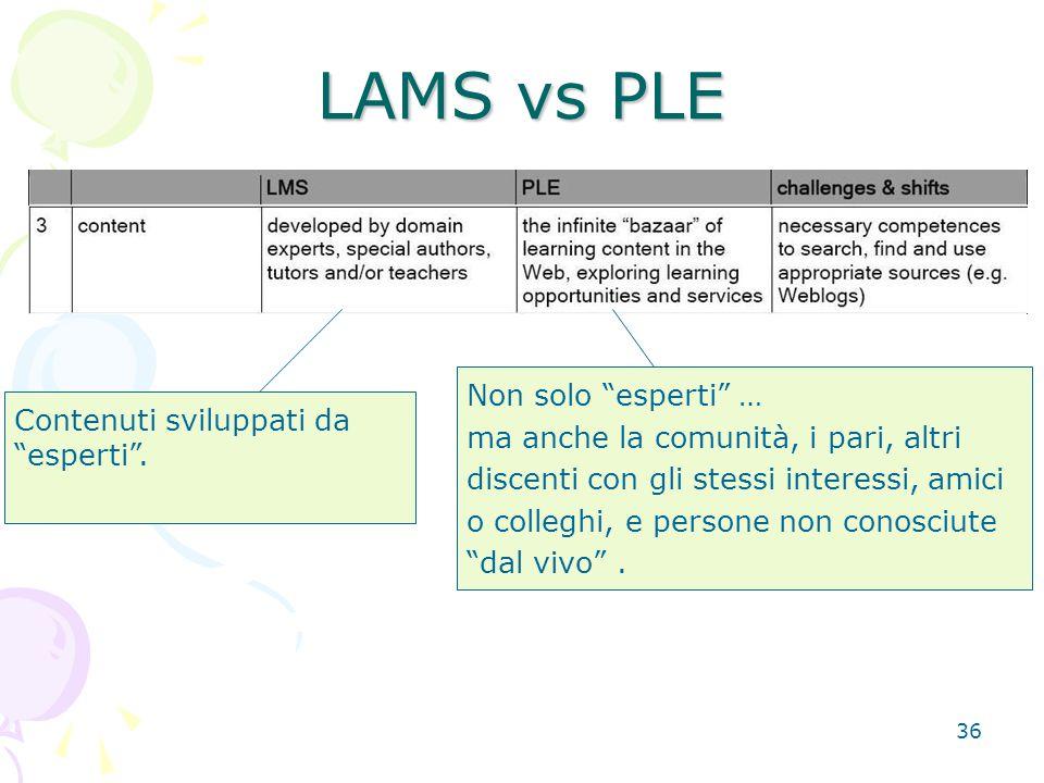 """36 LAMS vs PLE Contenuti sviluppati da """"esperti"""". Non solo """"esperti"""" … ma anche la comunità, i pari, altri discenti con gli stessi interessi, amici o"""