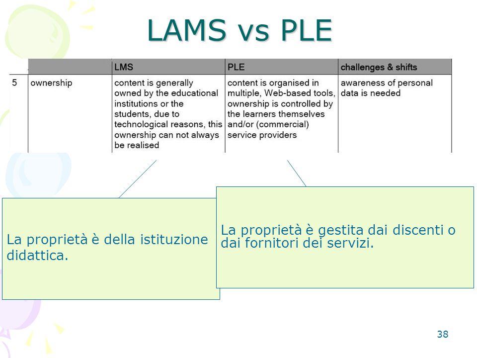 38 La proprietà è della istituzione didattica. LAMS vs PLE La proprietà è gestita dai discenti o dai fornitori dei servizi.