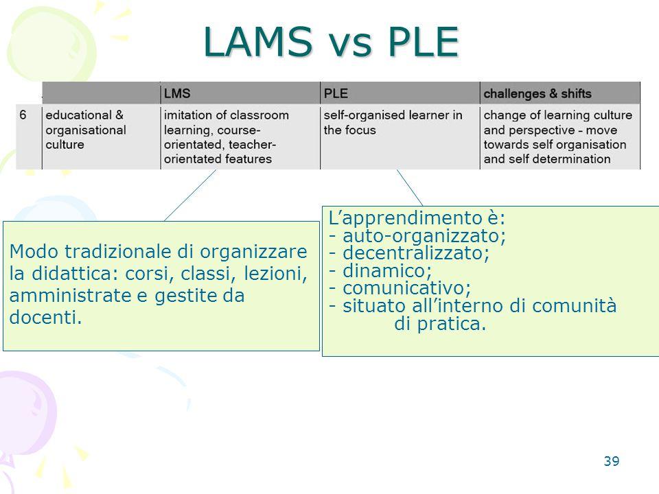 39 LAMS vs PLE Modo tradizionale di organizzare la didattica: corsi, classi, lezioni, amministrate e gestite da docenti.