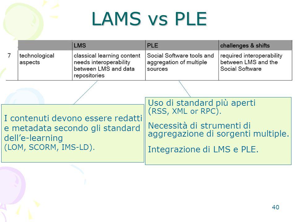 40 LAMS vs PLE I contenuti devono essere redatti e metadata secondo gli standard dell'e-learning (LOM, SCORM, IMS-LD). Uso di standard più aperti ( RS