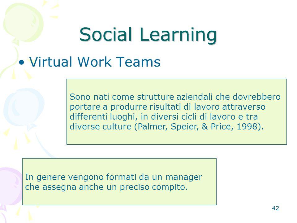 42 Social Learning Virtual Work Teams Sono nati come strutture aziendali che dovrebbero portare a produrre risultati di lavoro attraverso differenti luoghi, in diversi cicli di lavoro e tra diverse culture (Palmer, Speier, & Price, 1998).