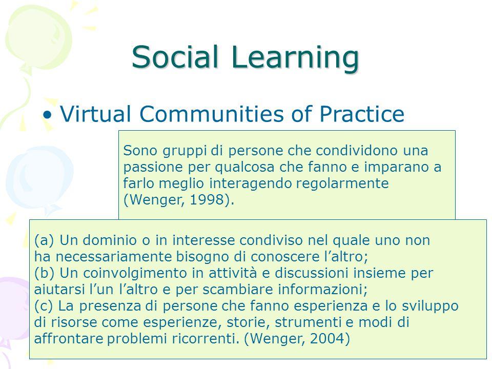44 Social Learning Sono gruppi di persone che condividono una passione per qualcosa che fanno e imparano a farlo meglio interagendo regolarmente (Wenger, 1998).