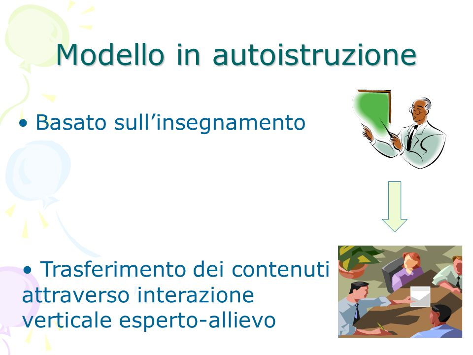 6 Modello in autoistruzione Caratteristiche innovative della rete usate solo per:  Erogazione dei contenuti  Registrazione automatica dei dati di movimento dell'allievo all'interno dei materiali;  Offerta centralizzata di sostegno