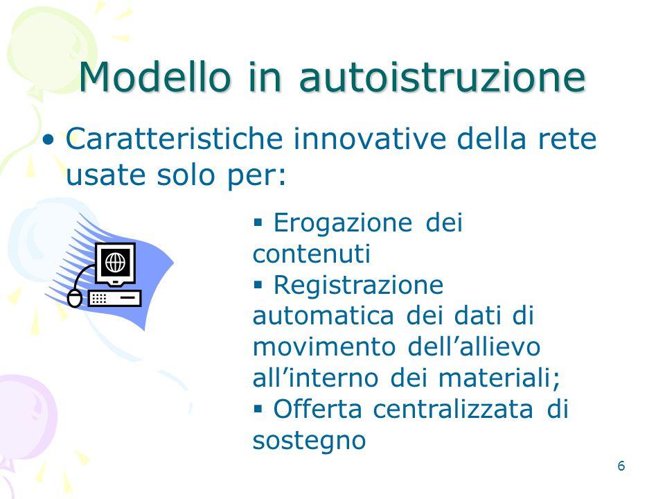 6 Modello in autoistruzione Caratteristiche innovative della rete usate solo per:  Erogazione dei contenuti  Registrazione automatica dei dati di mo