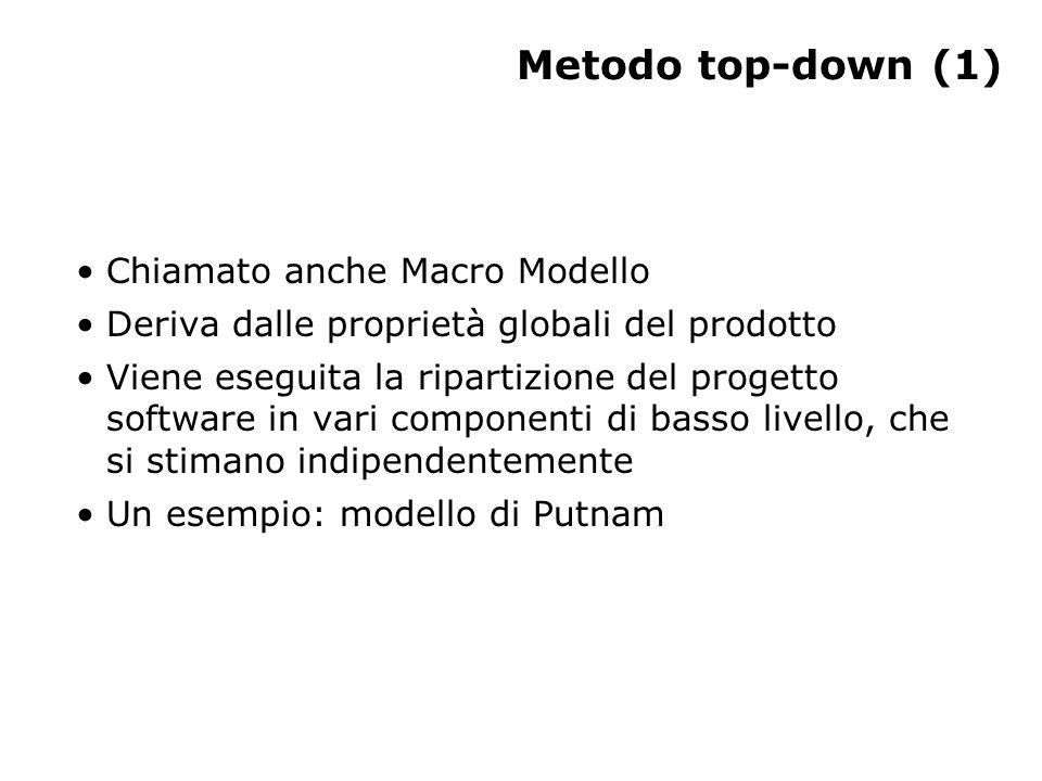 Metodo top-down (1) Chiamato anche Macro Modello Deriva dalle proprietà globali del prodotto Viene eseguita la ripartizione del progetto software in vari componenti di basso livello, che si stimano indipendentemente Un esempio: modello di Putnam