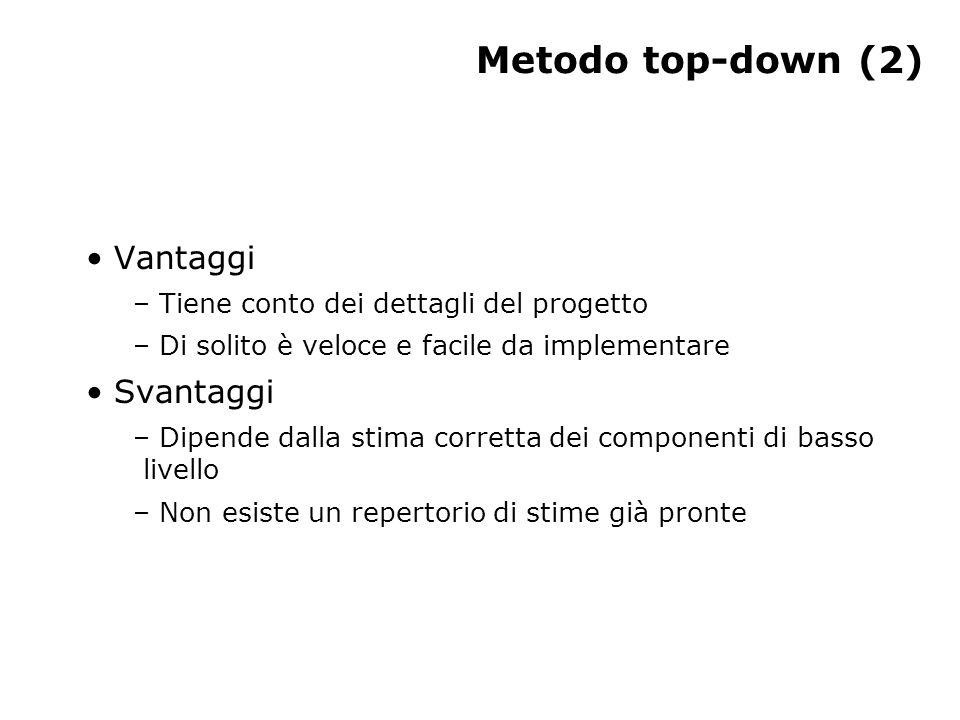 Metodo top-down (2) Vantaggi – Tiene conto dei dettagli del progetto – Di solito è veloce e facile da implementare Svantaggi – Dipende dalla stima corretta dei componenti di basso livello – Non esiste un repertorio di stime già pronte