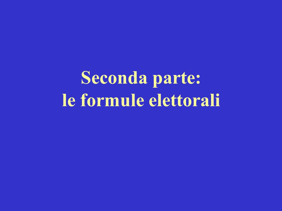 Seconda parte: le formule elettorali